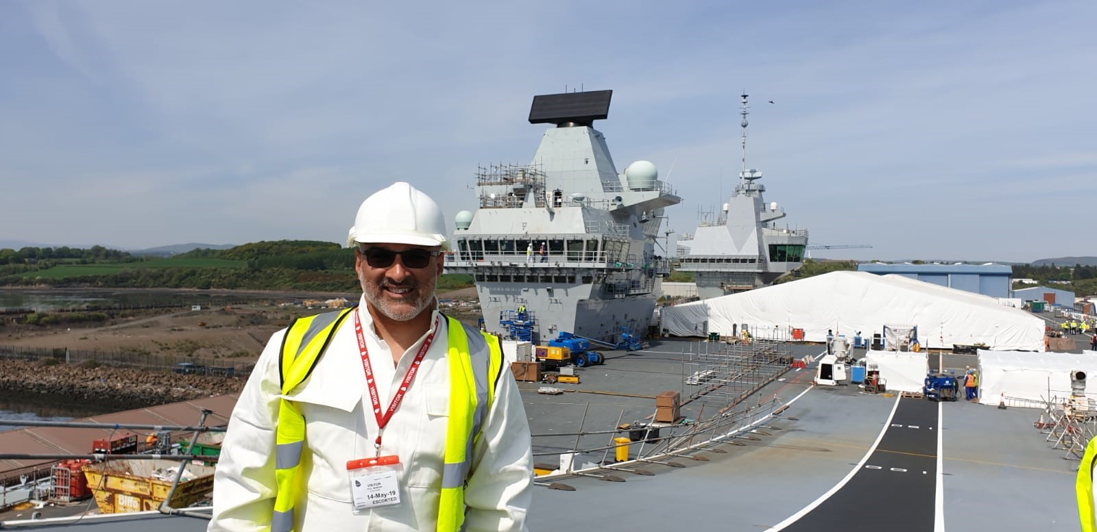 Naomi House Director of Fundraising Paul Morgan on HMS Prince of Wales flight deck.jpg